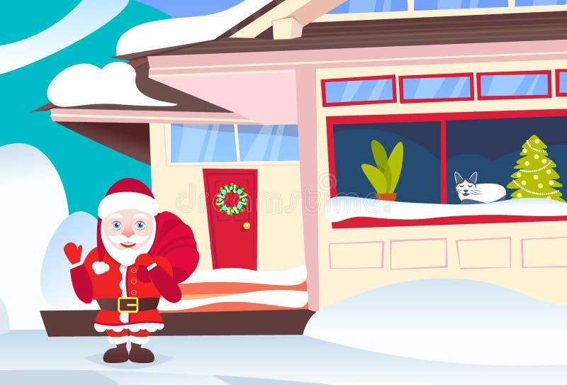 Wellenartig bewegender des Sackguten rutsch ins neue jahr Sankt-chaus Griffs anwesender Feiertagskonzept-Winterschnee der frohen  stock abbildung