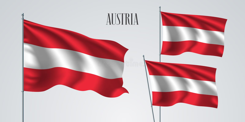 Wellenartig bewegender Flaggensatz Österreichs der Vektorillustration vektor abbildung