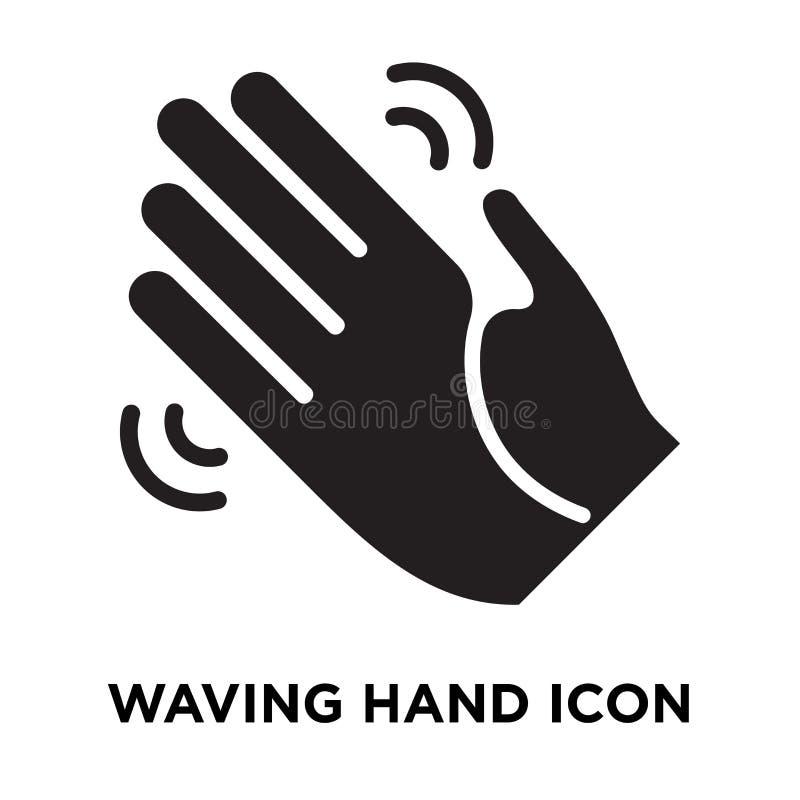 Wellenartig bewegender Handikonenvektor lokalisiert auf weißem Hintergrund, Logo conce vektor abbildung