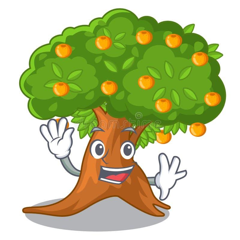Wellenartig bewegender Orangenbaum in der Zeichenform lizenzfreie abbildung
