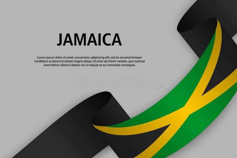 Wellenartig bewegendes Band mit Flagge von Jamaika, lizenzfreie abbildung