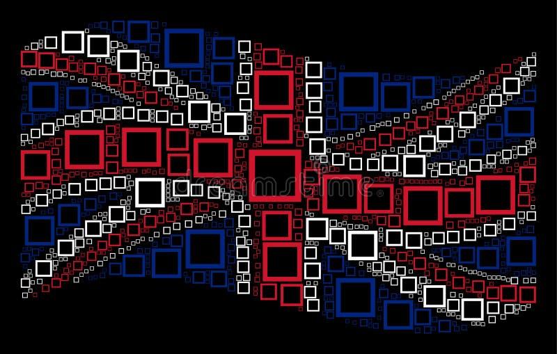 Wellenartig bewegendes britisches Flaggen-Mosaik von Konturn-Quadrat-Einzelteilen lizenzfreie abbildung