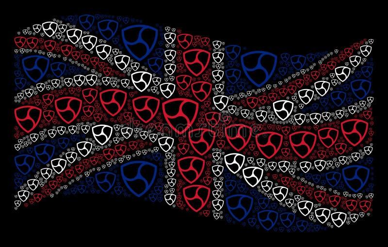 Wellenartig bewegendes britisches Flaggen-Muster von OHNE GEGENSTIMMEN Währungs-Einzelteilen stock abbildung