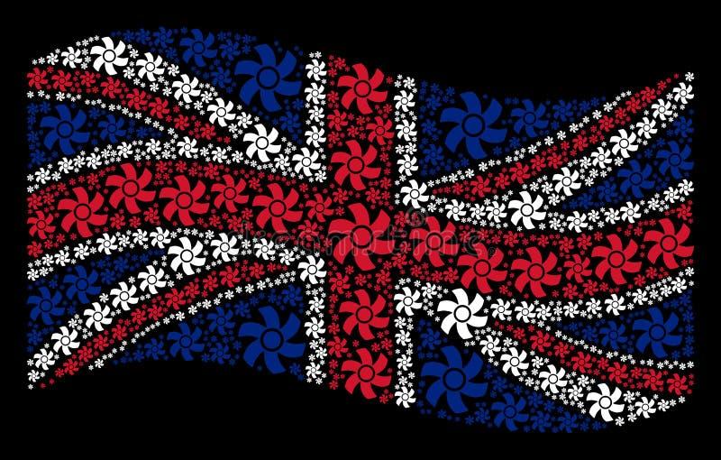 Wellenartig bewegendes britisches Flaggen-Muster von Rotor-Einzelteilen lizenzfreie abbildung