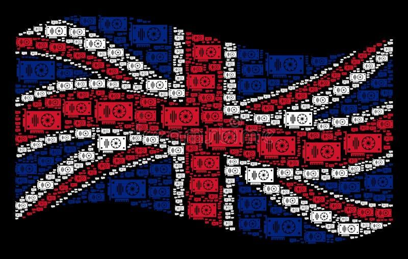 Wellenartig bewegendes britisches Flaggen-Muster von Video-GPU-Karten-Einzelteilen stock abbildung