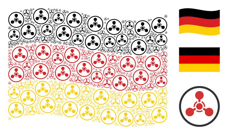 Wellenartig bewegendes deutsches Flaggen-Mosaik des WMD-Nerven-Vertreters Chemical Warfare Items vektor abbildung