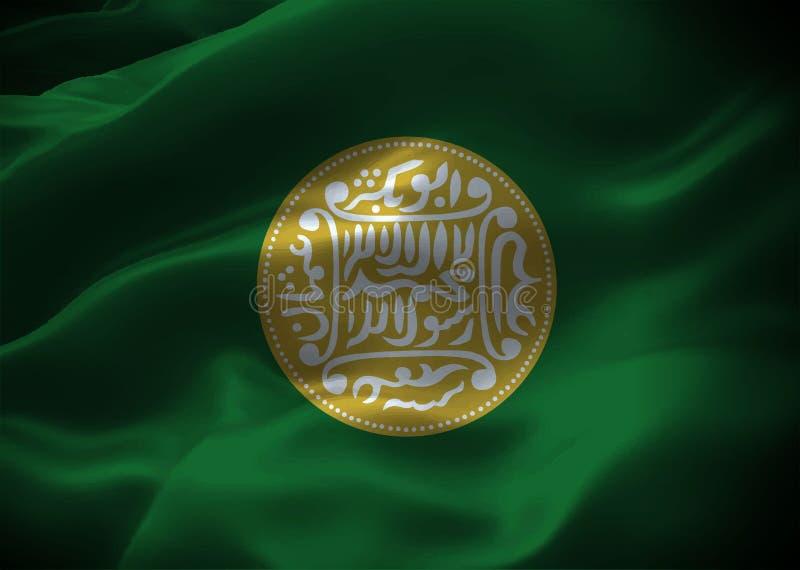 Wellenartig bewegendes Flaggen-ikonenhaftes Symbol Arakanese Rohingya alter Rohingya-Münze Nahaufnahme stock abbildung