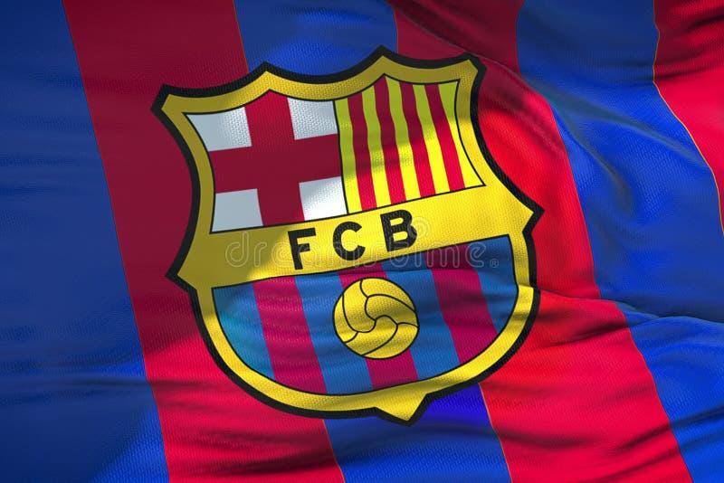 Wellenartig bewegendes Gewebe masern Flagge von FC- Barcelonafußballclub, wirkliches t stockbilder