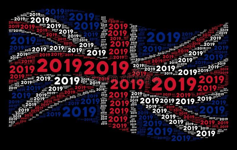 Wellenartig bewegendes Großbritannien kennzeichnen Mosaik von 2019-jährigen Text-Einzelteilen stock abbildung