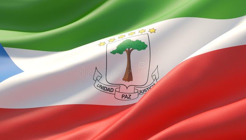 Wellenartig bewegte in hohem Grade ausführliche Nahaufnahmeflagge der Äquatorialguinea Abbildung 3D lizenzfreie abbildung