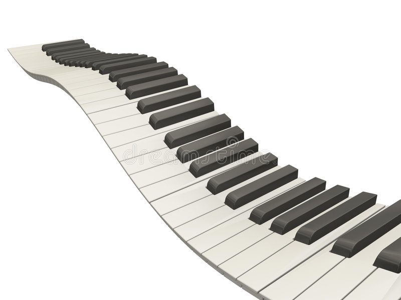 Wellenförmige Klaviertasten stock abbildung