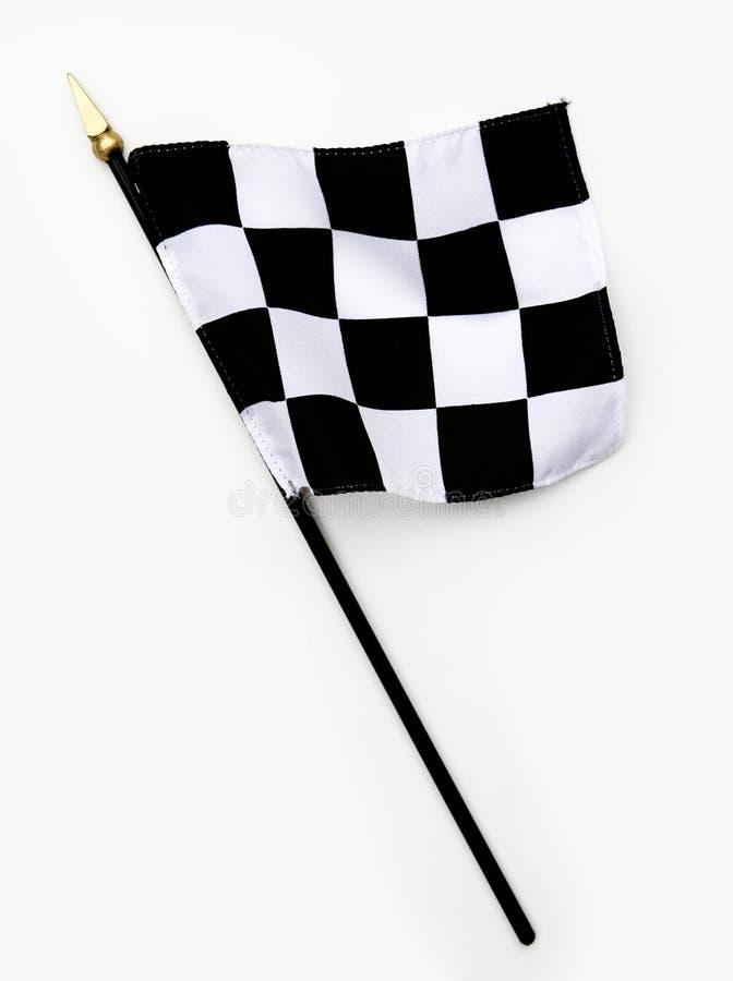 Wellenförmige Schwarzweiss-Ziellinie Checkered Markierungsfahne stockfotos