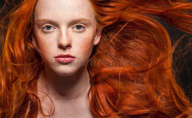 Wellenförmiges rotes Haar lizenzfreie stockfotografie