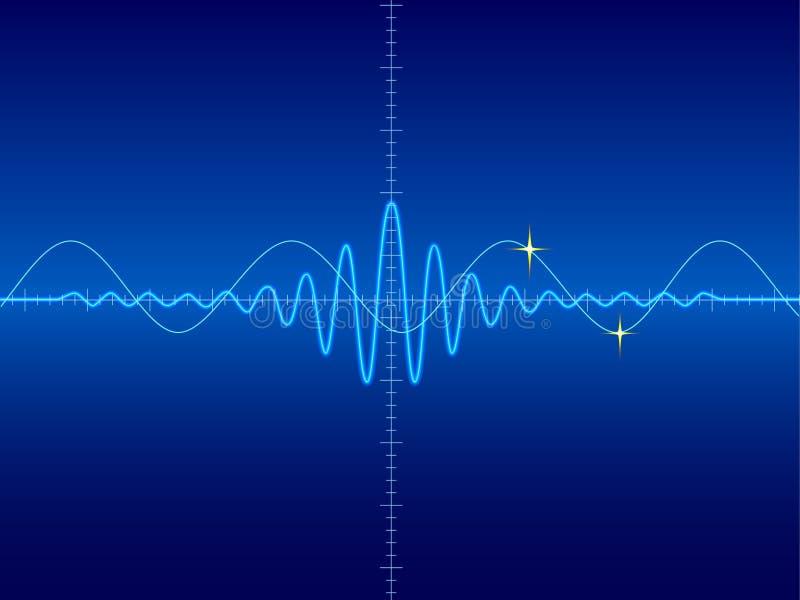 Wellenform im blauen Hintergrund lizenzfreie abbildung