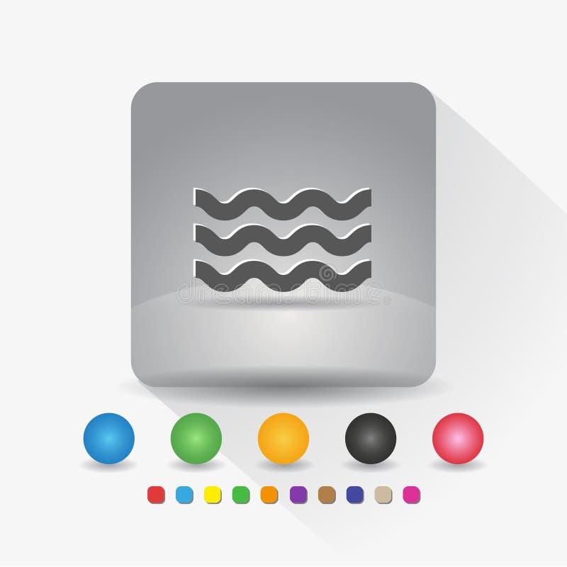 Wellenformikone Zeichensymbol App in der runden Ecke der grauen quadratischen Form mit langer Schattenvektorillustration und Farb lizenzfreie abbildung