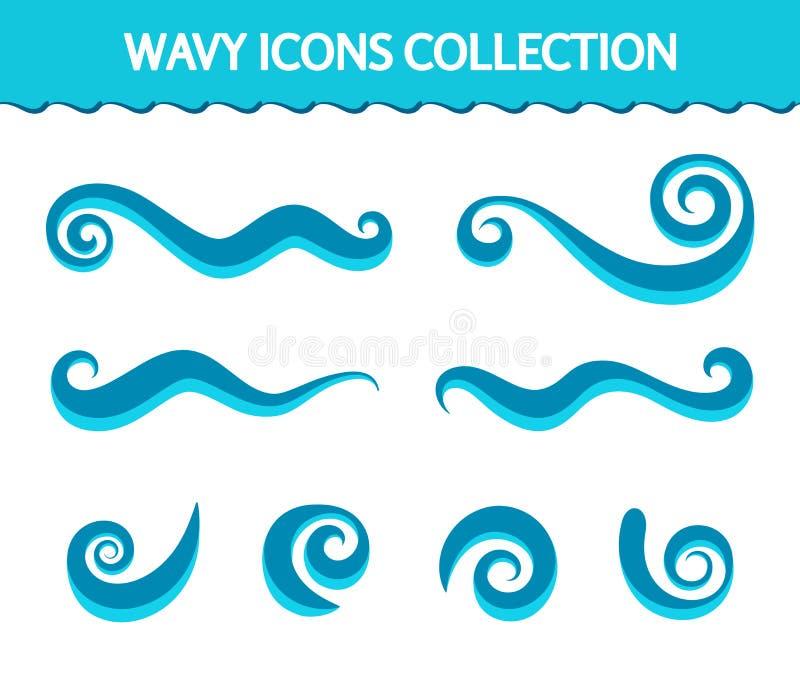 Wellenikonen und einfache Strudel vektor abbildung