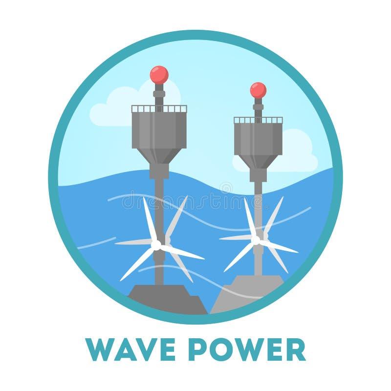 Wellenkraftkonzept Alternative Energie für die Umwelt stock abbildung