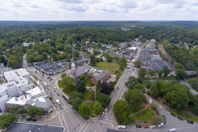 Wellesley Congregational Church, Massachusetts, USA. Aerial view of Wellesley Congregational Church and town center, Wellesley, Massachusetts, USA royalty free stock images