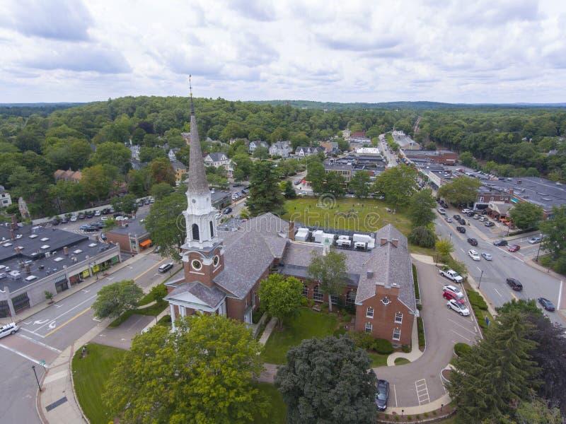 Wellesley Congregational Church, Massachusetts, USA. Aerial view of Wellesley Congregational Church and town center, Wellesley, Massachusetts, USA stock photo