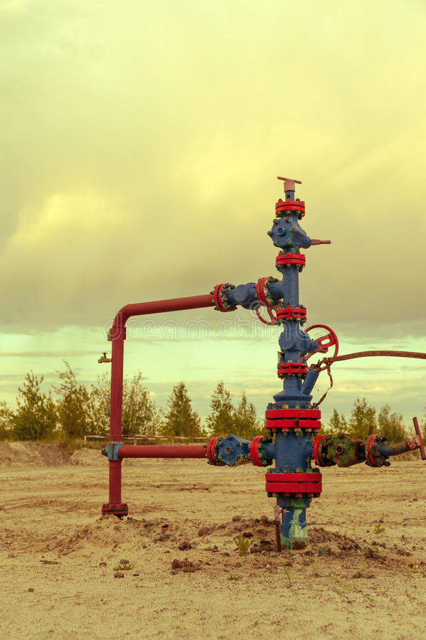 Wellhead with valve armature. stock photo