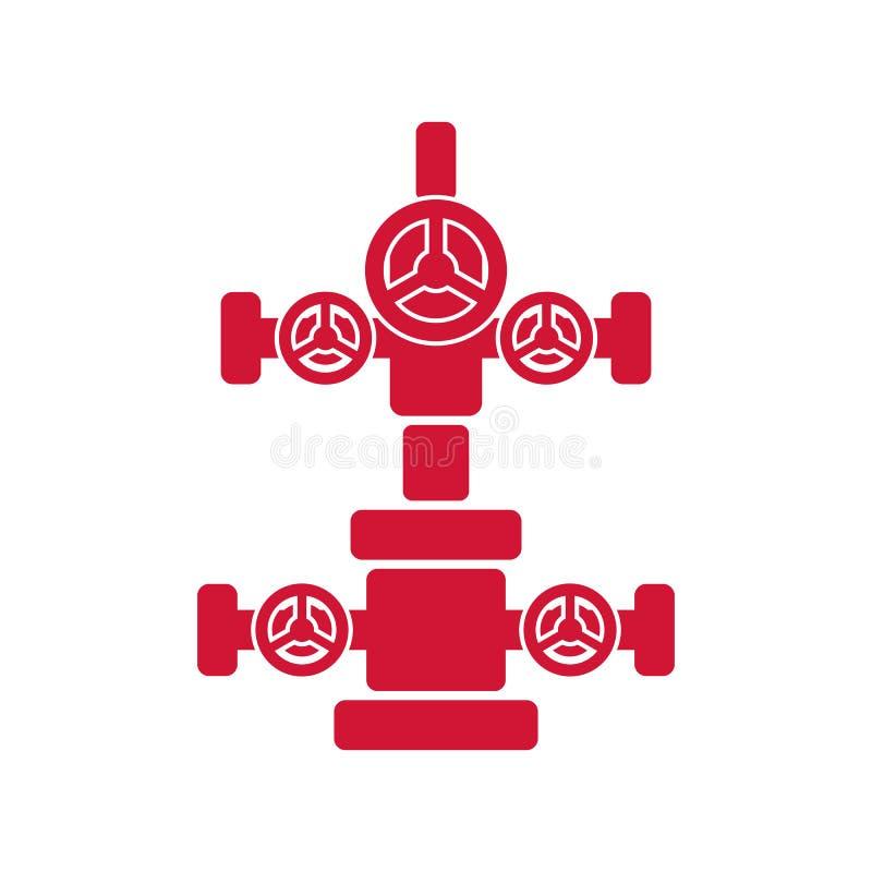 Wellhead znak dla ropa i gaz przemysłu Czerwona płaska ikona ilustracja wektor