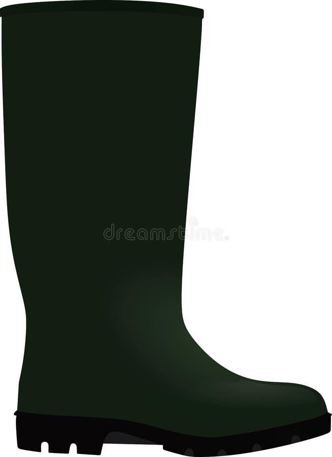 Wellie verde Vista laterale illustrazione vettoriale