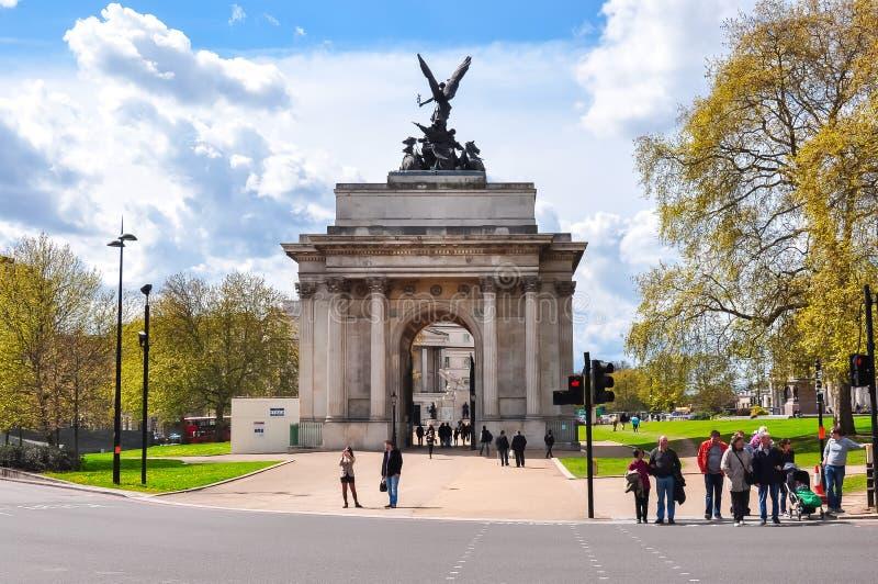 Wellington Arch Constitution Arch in Londen, het UK royalty-vrije stock afbeelding