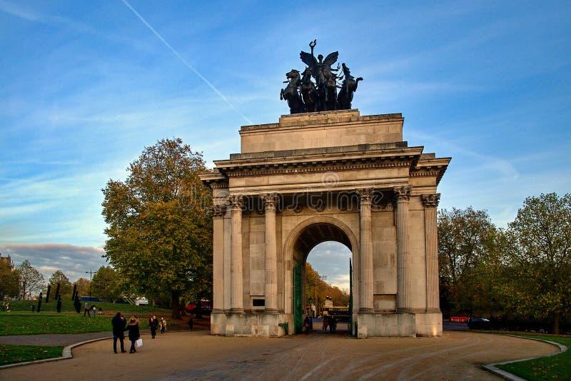Wellington Arch-monument in Londen, het UK stock fotografie