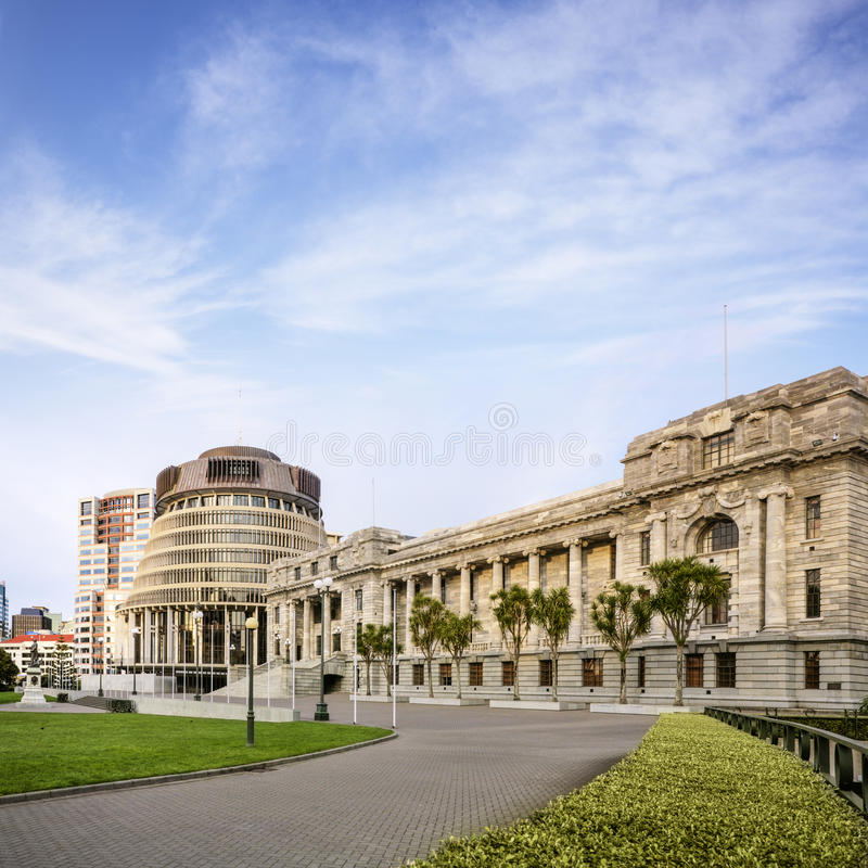 Wellington The Beehive And Parliament House Royalty Free Stock Photos