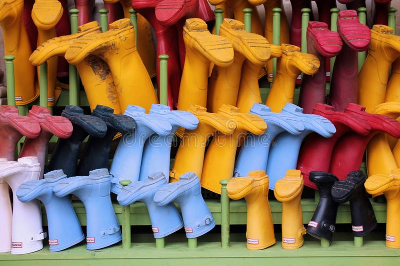 Wellington Boots Rack stock images