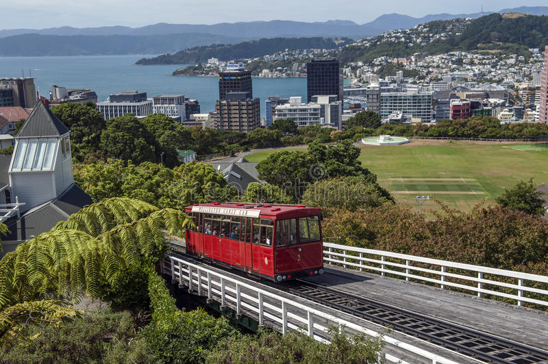 The Wellington Cable Car, New Zealand. Wellington, New Zealand - March 2, 2016: The Wellington Cable Car is a funicular railway in Wellington, New Zealand royalty free stock image