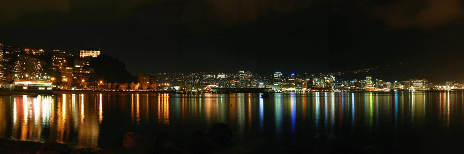 Wellington City By Night - New Zealand royalty free stock photography