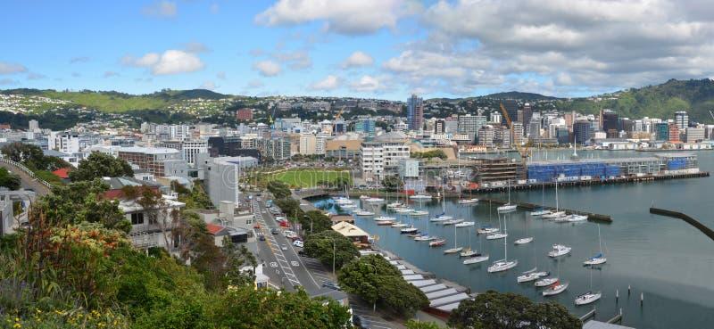 Wellington City Panorama in primavera, Nuova Zelanda fotografie stock libere da diritti
