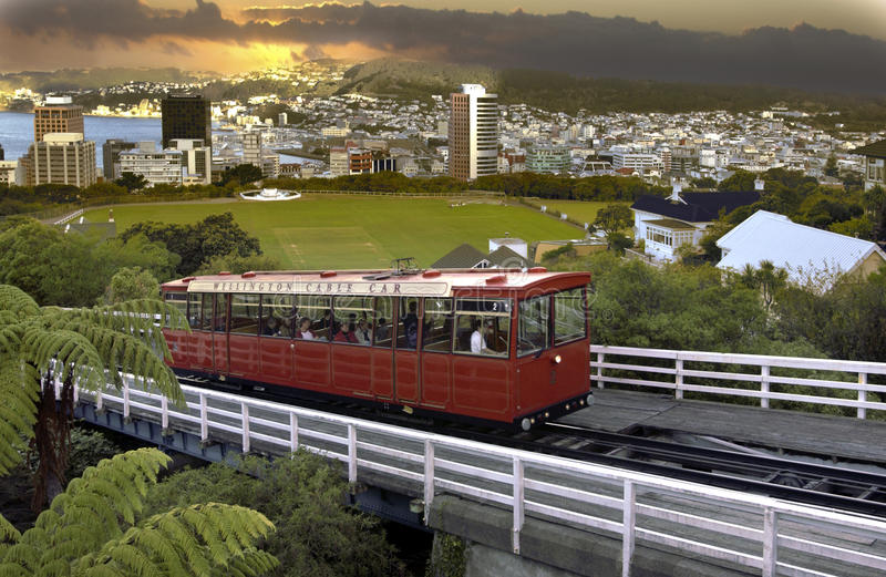 Wellington-Drahtseilbahn - Neuseeland lizenzfreie stockfotos
