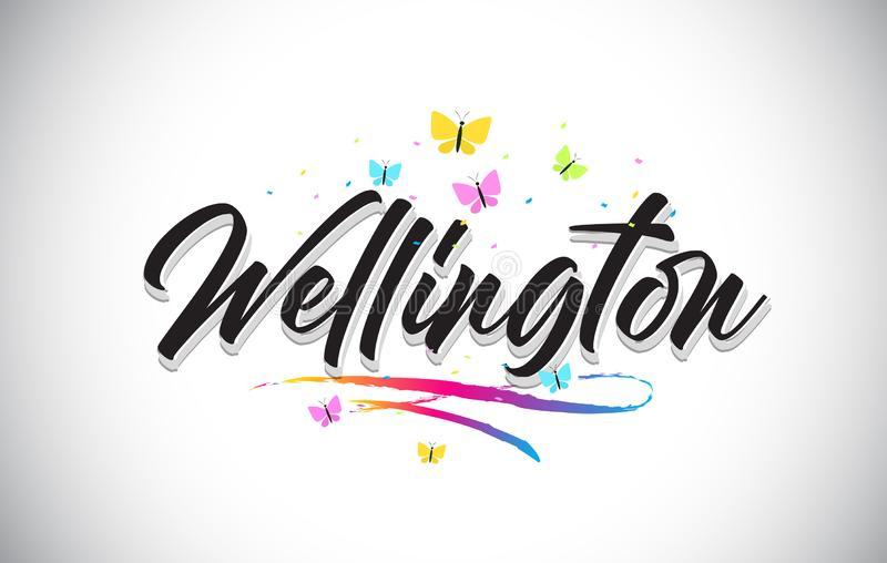 Wellington Handwritten Vector Word Text con le farfalle e variopinto mormorano illustrazione di stock