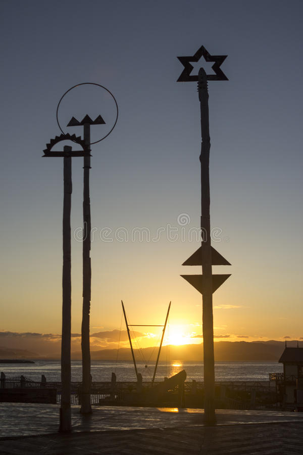 Wellington Harbour Sunrise stock afbeeldingen