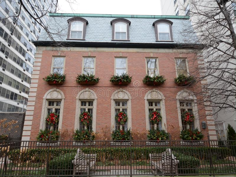 Wellington Holiday House. This is a picture of the Wilson House decked out for the holidays in the East Lakeview neighborhood of Chicago, Illinois. The house stock photography