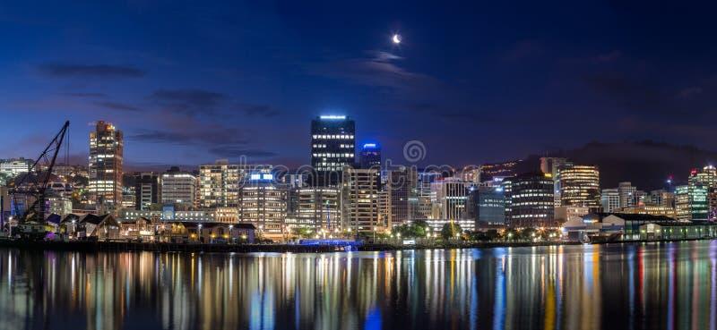 Wellington miasto przy nocą obrazy royalty free