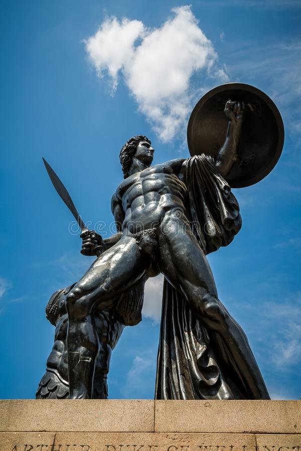 The Wellington Monument of Achilles in Hyde Park London stock image