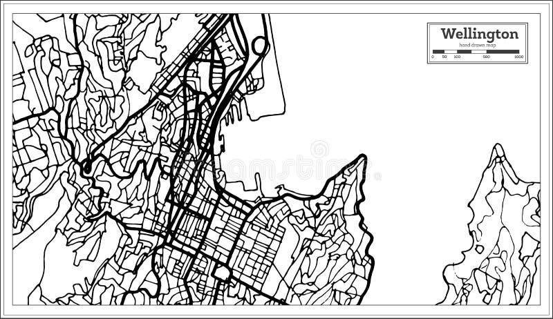 Wellington New Zealand City Map dans la couleur noire et blanche illustration libre de droits