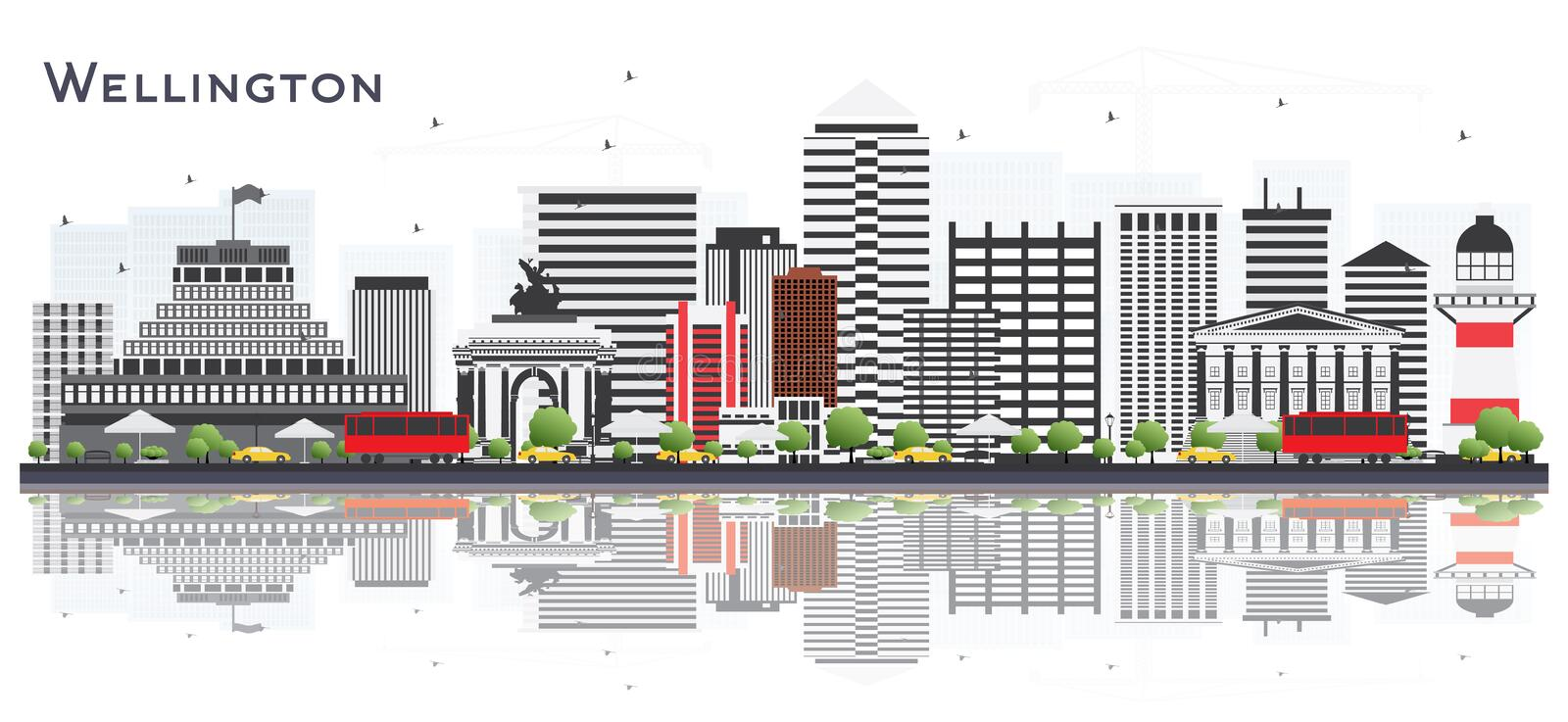 Wellington New Zealand City Skyline with Buildings Isolated on W. Hite Background. Vector Illustration. Business Travel and Tourism Concept with Modern Buildings stock illustration