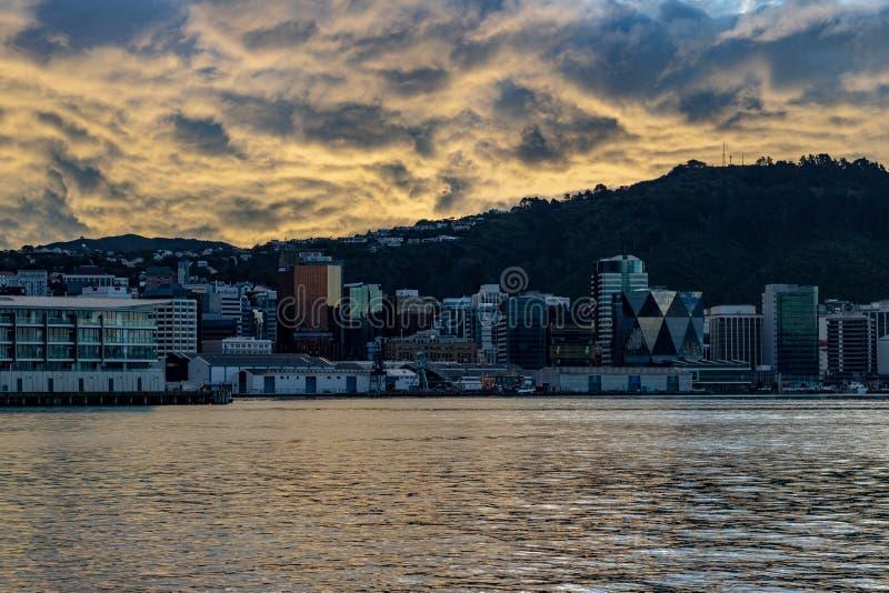 Wellington New Zealand, Dramatische Zonsondergang stock afbeelding