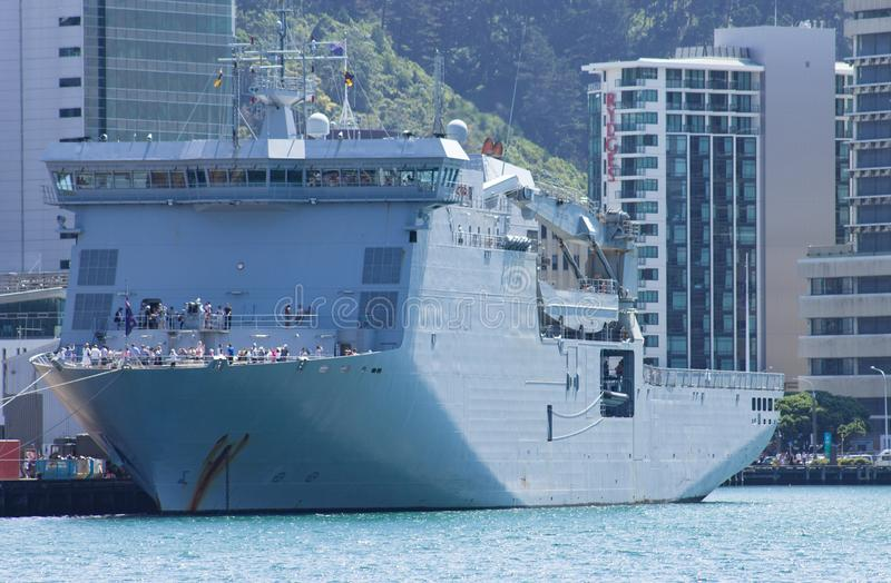 HMNZS Canterbury Ship of the Royal New Zealand Navy welcomes the public on board for viewing. stock images