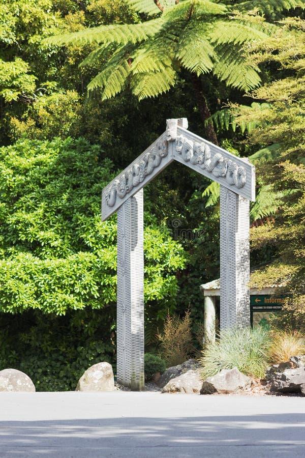 A carved Maori Gateway at the entrance of Otari-Wilton`s Bush stock photos
