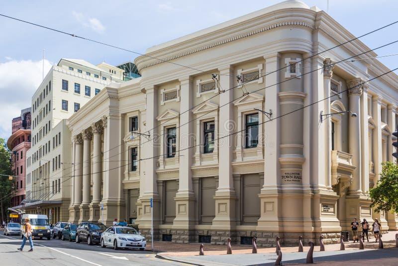 Wellington, Nieuw Zeeland, 13 Februari 2016: Stadhuis royalty-vrije stock afbeelding
