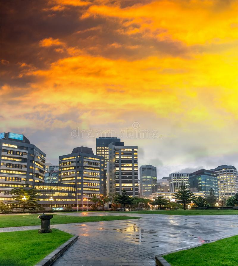 Wellington night skyline from waterfront royalty free stock image