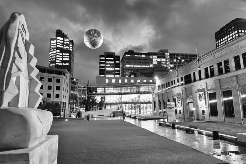 WELLINGTON, NOUVELLE-ZÉLANDE - 4 SEPTEMBRE 2018 : Horizon de nuit de ville photographie stock libre de droits