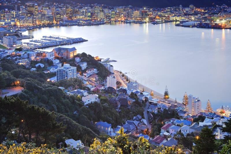 Wellington Nowa Zelandia zmierzch Nad CBD obraz royalty free