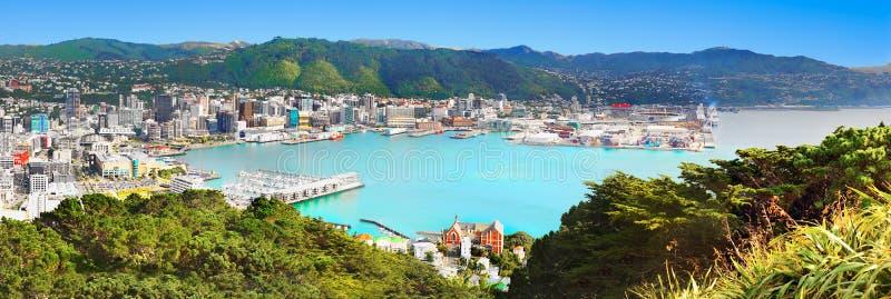 Wellington Panorama Nya Zeeland arkivfoto