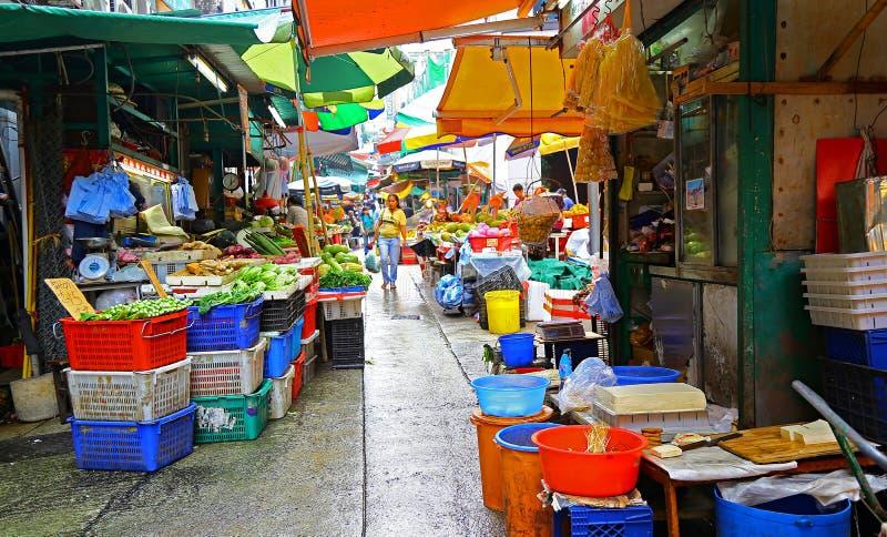 Wellington street market, hong kong royalty free stock image